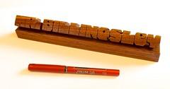 Walnut Desk Name (Larger Size) (DustyNewt Scott) Tags: wood boss plaque wooden carved office display desk handmade name walnut shelf teacher secretary woodworking personalized dustynewt desknameplate