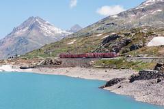 Bernina Express (Swissrock) Tags: mountains alps june landscape nikon unesco bahn landschaft unescoworldheritage 2014 rhb graubnden lagobianco hystory raylway berninapass berninaexpress ospiziobernina d700