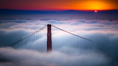 Lifted (Raj Golawar) Tags: sf sanfrancisco california bridge sunset red cali fog sunrise canon golden bay nikon gate san long exposure fuji bridges fran lee nd bayarea nikkor hdr