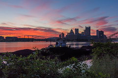A Dash of Pink (Jaime Dillen-Seibel) Tags: city sun colors skyline architecture sunrise canon pittsburgh pennsylvania pa pinksky pncpark burgh pittsburghskyline downtownpittsburgh cityofbridges 60d pittsburghsunrise coalbardge h112f2a77webpagea h112f2a77