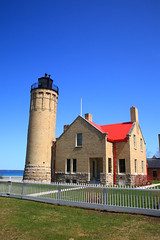 Lighthouse - Mackinac Point, Michigan (Frank Footer Fotos) Tags: park old city travel blue trees light red vacation sky orange usa sun lighthouse white house lake seascape brick green tower art classic home colors sunshine weather wall america vintage fence point landscape island photography bay wooden office colorful state michigan framed great fine sightseeing lakes murals sunny grand tourist historic retro coastal posters buy prints nautical lower decor peninsula beacon quarters huron navigation attractions picket mackinac mackinaw keeper