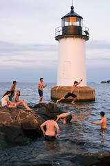 . (JHamel) Tags: ocean summer lighthouse swimming jumping massachusetts teenagers salem 2014 winterisland nikon2470mmf28 salemharborpowerstation nikond610