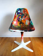 Convicted(Troubling Times) (theartistbeforeyou) Tags: blue red orange streetart abstract black green art colors yellow collage photography graffiti crazy rainbow chair colorful paint purple bright photos furniture mixedmedia seat spraypaint refuse recycle recycling reward markers airbrush polyurethane repurposed reuse krink refuz montanapaint repurposedfurniture mediumtransfer