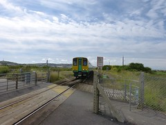 Suddenly a Train! (Elsie esq.) Tags: abandoned station train crossing village newhaven southernrailway tidemills electricmultipleunit class313