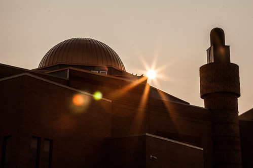 Sun sets over the mosque
