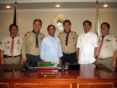 Welcomed by Jejomar Binay for our 2009 International Service Project - Mayor of Makati City at the time of the trip, now Vice President of the Philippines and President of the Boy Scouts of the Philippines