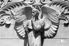 Hmmm... (jan buchholtz) Tags: blackandwhite sculpture france church monochrome statue angel wings lyon noiretblanc basilica notredame sword basilique fourvière rhônealpes janbuchholtz