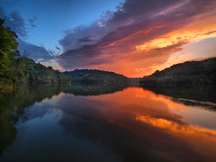 Mirror Of Fire (Bill Fultz) Tags: sunset water reflections sunsetreflection northernkentucky covingtonky kentoncounty covingtonkentucky doerunlake doerunlakecovingtonkentucky