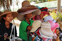 Hat Ladies (MTS Farrell) Tags: travel summer portrait people sun hot indonesia temple photography java women asia southeastasia candid central hats photojournalism worldheritagesite yogyakarta sales borobudur streetvendors