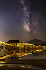 Eden (Keiichi T) Tags: bridge blue light shadow sky mountain lake tree green water japan night forest canon eos star pond       milkyway 6d
