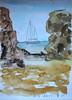 2014.Menorca.3.Binigaus y las rocas. (joseluisgildela) Tags: watercolors menorca playas acuarelas carnetsdeviaje