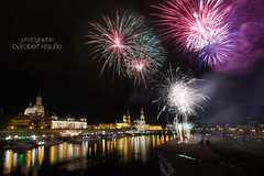 Fireworks over the Skyline of Dresden (redEOS92) Tags: party colour festival skyline night canon river germany dresden fireworks newyear elbe stadtfest