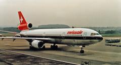 Swissair DC-10 HB-IHF, Zurich, September 1982 (Proplinerman) Tags: aircraft zurich douglas airliner dc10 kloten jetliner swissair mcdonnelldouglas trijet