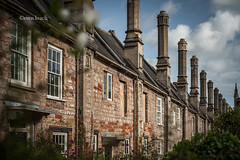 Wells (Sven Loach) Tags: uk flowers houses summer england stone architecture fairytale 50mm afternoon cathedral britain wells somerset foliage repetition bushes chimneys westcountry cottages d700