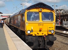Shed on the Stock: Class 66 at Crewe (The Railway Journal) Tags: charity acdc scott royal special crewe gb 12 load coaches basingstoke class66 drs 100miles electriclocomotive goodcause miltonkeynescentral gbrailfreight class92 class57 gbrf gbep enthusiastsspecial highwaytohampshire