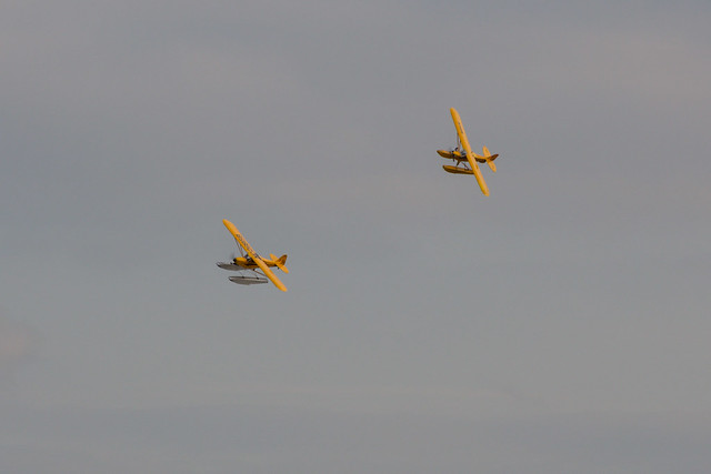 Phil and Rodney's Piper Cubs doing some formation flying.