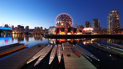 Blue hour view, Telus World of Science (Eric Flexyourhead (Trying to catch up!)) Tags: blue sky canada water vancouver reflections boats twilight dock bc britishcolumbia wharf dome falsecreek bluehour geodesic 169 dragonboats scienceworld telusphere bcplace telusworldofscience panasoniclumix714mmf40 olympusem5