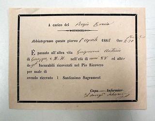 Dichiarazione di morte di Gasparone, 1 aprile 1882