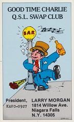 Good Time Charlie QSL Swap Club (The Cardboard America Archives) Tags: newyork drunk vintage niagarafalls alcohol qsl cbradio qslcard goodtimecharlie