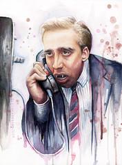 Nicolas Cage Watercolor Art (olechka_wa) Tags: portrait art watercolor movie kiss vampire humor cage meme fanart nicolas niccage nicolascage olechkadesign
