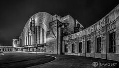 Cincinnati Museum - Union Terminal (AP Imagery) Tags: ohio blackandwhite bw monochrome museum architecture night cincinnati unionterminal westernavenue queensgate