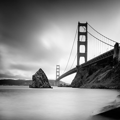 Golden Gate and Needles (Graeme Tozer) Tags: california usa ocean bridge goldengate sanfrancisco blackandwhite longexposure coast sea