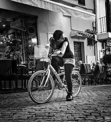Calle Peral Bw (Joaqun M Crespo) Tags: byn blackwhite bw blancoynegro callejeo calle ciudad streetphoto street bicicleta younggirl marbella monocromo andaluca otoo oldtown sistemax x100t