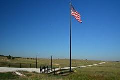 Proud American Farmer (The Old Texan) Tags: farm hay flag american texas fence sky blue d7100 nikon lens