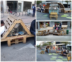 Boulevard in Brussels Reborn as a Pedestrian Zone With Ephemeral Pallet Furniture (irecyclart) Tags: bookcase bookshelf reclaimedpallet urban