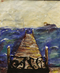 Even in Winter (sam.clare.w) Tags: art painting bench watercolor acrylic paint tea stained paper dock