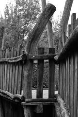 Klettergerüst (Lichtabfall) Tags: holz wood einfarbig buchholzidn buchholz blackwhite blackandwhite monochrome schwarzweiss spielplatz playground geländer klettergerüst bw sw