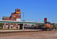 """Southbound Grain Train in Kansas City, MO (""""Righteous"""" Grant G.) Tags: sp southern pacific railroad railway locomotive train trains kansas city missouri up union grain ge power"""