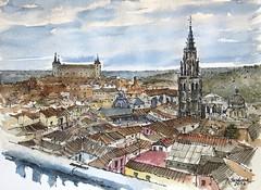 Toledo (P.Barahona) Tags: ciudad panorámica urbano acuarela pbarahona pluma tinta alcazar catedral torre toledo