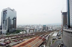 Japan Railway freight yards from the roof of Umeda Station 1740 (Tangled Bank) Tags: japan japanese asia asian osaka city station jr rail railway downtown urban train railroad freight container yard yards