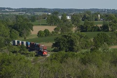 Q19991 (THE Woodtick) Tags: canadiannational cnexwc doublestack es44ac exsooline exwisconsincentral wisconsin theresa intermodal stacktrain trees farmland dairyland farm