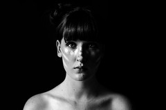 Lightning Crashes (saralinnpersson) Tags: selfportrait blackandwhite monocrome facepaint makeup young female indoor windowlight naturallight