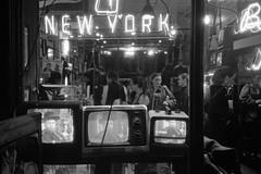 New York Boxing Gym (Indofunk Satish) Tags: tv television nyc nycatnight boxing gym window manhattan blackwhite trix olympusxa night nightshot