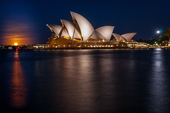 Full Moon rising in Sydney Harbour (danielacon15) Tags: architecture australia sydney outdoorsnight fullmoon supermoon rising bluehour operahouse longexposure reflections