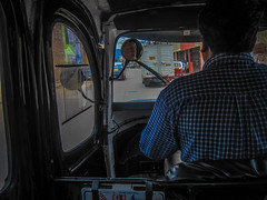 The view from inside a moto-taxi.