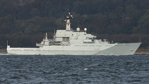 HMS SEVERN P282. passing Greenock Scotland.