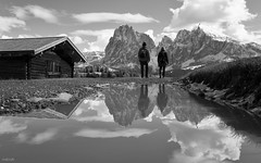 They Missed It (fotoRschaffer) Tags: dolomitealps europe italy autumn landscape outdoorphotography monochrome blackandwhite seiseralm alpedisiusi langkofel sassolungo hikers walking couple alpinecabin puddle water reflection inconspicuous southtyrol plattkofel sassopiatto snowymountains sky clouds massif grden dolomiten europa italien italia herbst landschaft schwarzweiss wanderer prchen almhtte fotorschaffer alainschaffer pftze wasser spiegelung unauffllig sdtirol schneeberge wanderweg