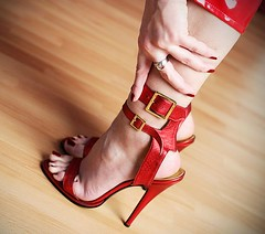 red harmony (jessfeet) Tags: red toes high heels mules sexy feet