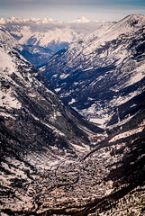 Snow village series - Perspective (redgoldish) Tags: switzerland zermatt snow snowy village valley perspective landscape miniature mountains clouds faraway far