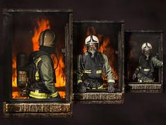 At The Window (Neil A Kingsbury) Tags: fireman flames fire window uniform safety progression tryptch helmet