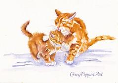 Bath Time - Spit & Polish (GREY PEPPER ART) Tags: cats kittens felines motherandchild washing cute watercolour art greypepperart cleaning