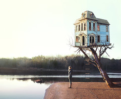 Because I felt like it... (Kelsey Ann Thomas) Tags: house tree treehouse alone walden woods beach lake water girl solitude concept victorian abandoned