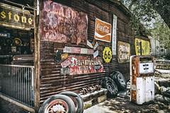 Sur la route 66 - Hackberry (Isabelle Gallay) Tags: travel arizona house urban urbain city ville route66 road66 roadtrip motherroad wall mur essence regular fuji fujifilm amrique america usa etatsunis road hackberry 66 garage