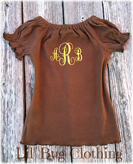 Brown Peasant (Lil' Bug Clothing) Tags: brown knit peasant top personalized