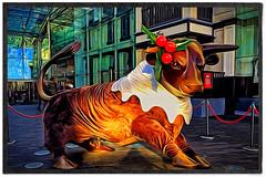Day 339 of 366 - All Dressed Up! (editsbyjon) Tags: abstract snapseed phototoaster picsart exposergl iphoneography iphone365 iphone digitalpainting digitalart outdoor christmasdecorations bullstatue bullringshoppingcentre birmingham painterly serene photoborder