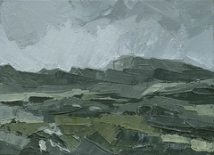 Snowdonia Welsh Mountains - Original Landscape Painting by Steve Greaves (Steve Greaves) Tags: landscape paint painting art artwork acrylic canvas grey olivegreen black hills mountains valleys wales cymru welsh modern contemporary fineart paletteknife llanberis barnsley artist painter rocks craggs crags greysky dramatic atmosphere atmospheric overcast